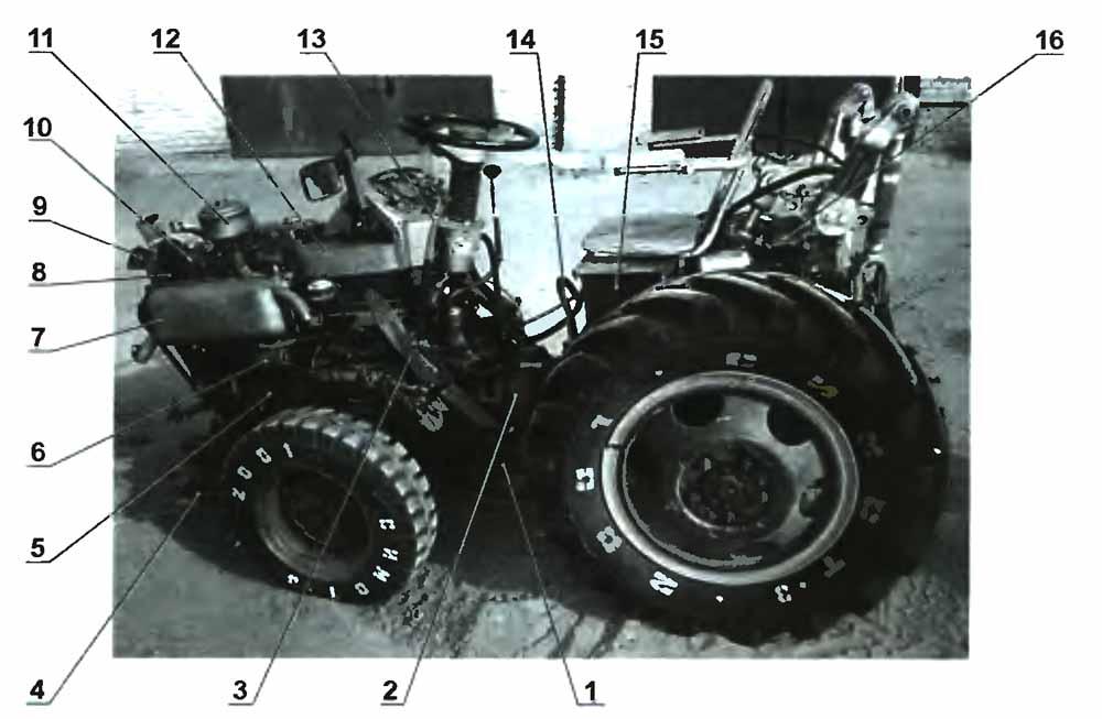 Компоновка мини-трактора: 1