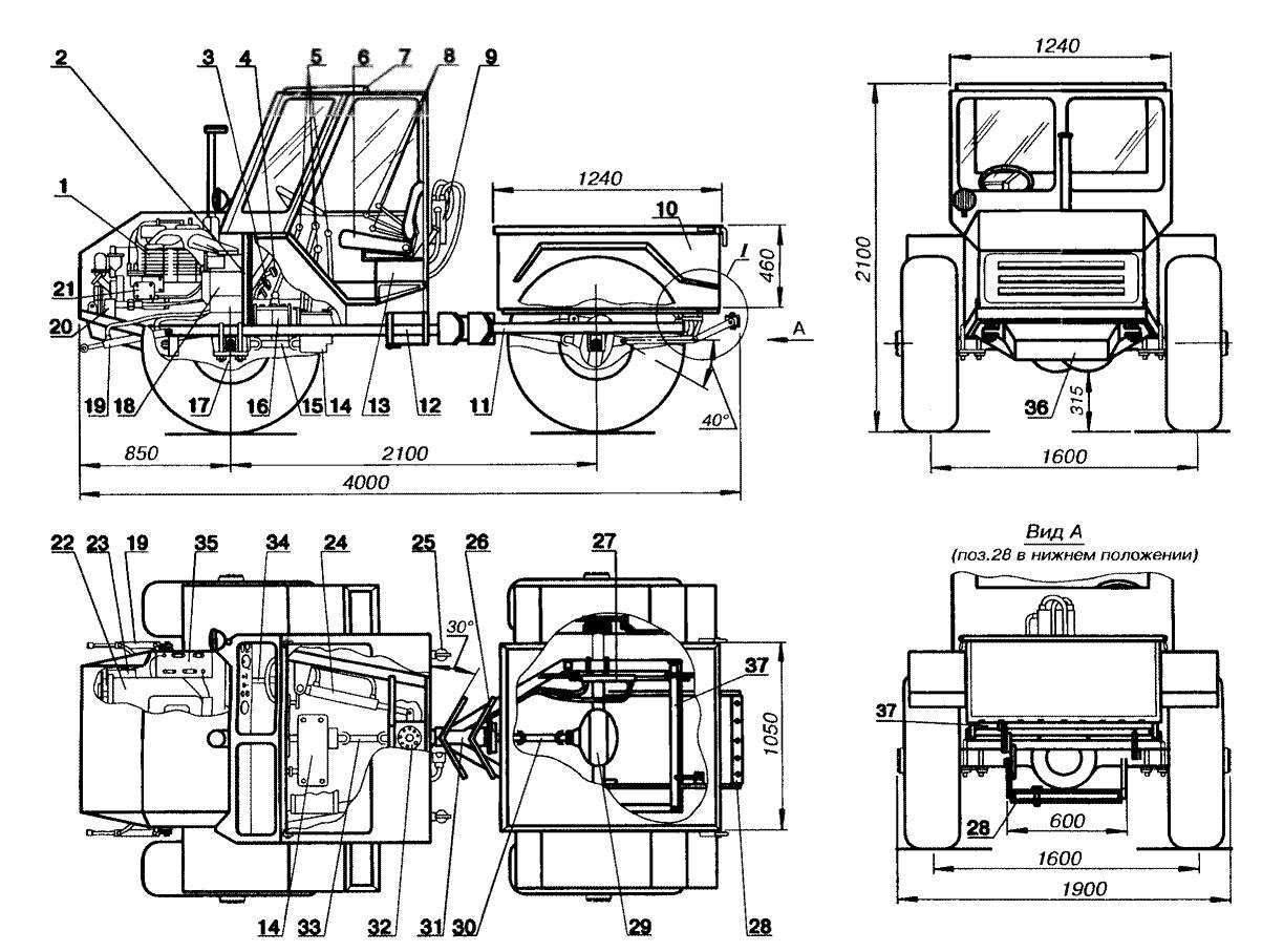 Чертежи компоновки самодельного трактора Сибиряка