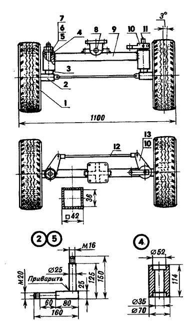 Передний мост мини-трактора