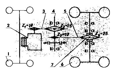 Кинематическая схема трансмиссии мини-трактора