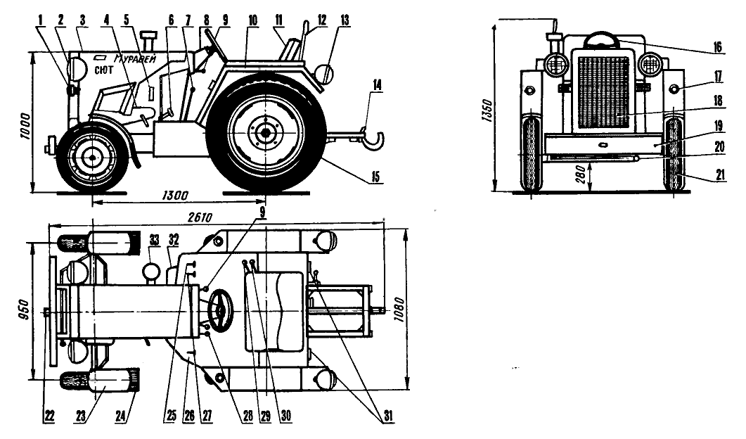 Компоновка мини-трактора «